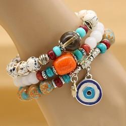 دستبند زنانه سه تکه با آویز چشم نظر و رنگارنگ مدل B239