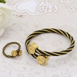 ست زنانه دستبند و انگشتر نگین دار استیل رنگ طلایی مشکی مدل M105