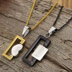 گردنبند دوستی دو تکه جنس استیل شکل قلب و Love رنگ طلایی، نقره ای و مشکی مدل N346