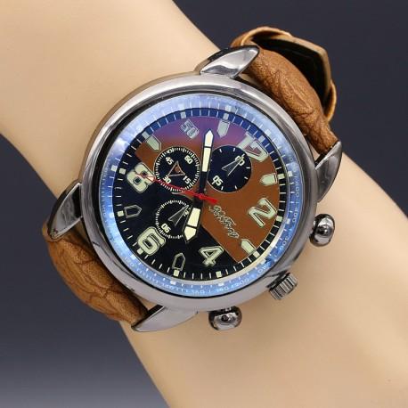 ساعت مچی اسپرت با بند چرمی قهوه ای و صفحه بزرگ مدل F189