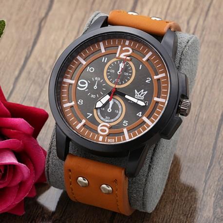 ساعت مچی اسپرت با بند چرمی قهوه ای و صفحه بزرگ مدل F190