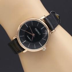 ساعت مچی زنانه با بند چرمی مشکی و صفحه دایره ای مشکی رنگ و موتور ژاپنی مدل F191