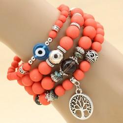 دستبند زنانه چند تکه با سنگ های قرمز رنگ و آویز نقره ای درخت مدل B251