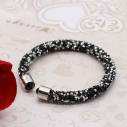 دستبند زنانه تمام نگین رنگ مشکی - نقره ای مدل B256