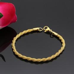 دستبند زنانه زنجیری طنابی استیل با رنگ طلایی مدل B259