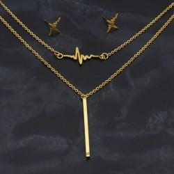 نیم ست دو زنجیره استیل طرح ضربان قلب با رنگ طلایی مدل T223