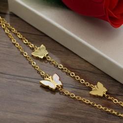 دستبند زنانه دو زنجیره استیل طرح پروانه با رنگ طلایی مدل B261