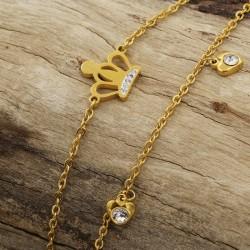 دستبند دو زنجیره طرح تاج و قلب جنس استیل با رنگ طلایی مدل B262