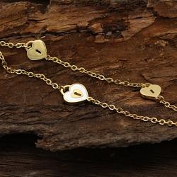 دستبند زنانه دو زنجیره استیل طرح قفل با رنگ طلایی مدل B264