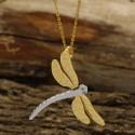 گردنبند زنانه طرح سنجاقک جنس استیل و رنگ طلایی-نقره ای مدل N363
