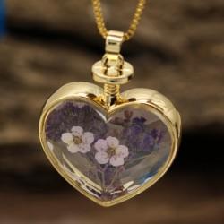 گردنبند شیشه ای گل خشک طرح قلب و گل بنفش مدل N367