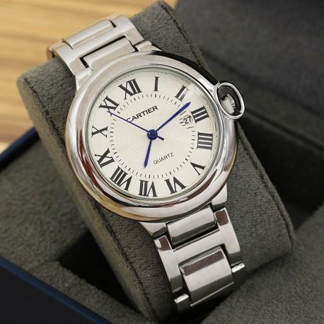 ساعت مچی مردانه با بند استیل و رنگ نقره ای و صفحه سفید ضد آب دارای تقویم مدل F199