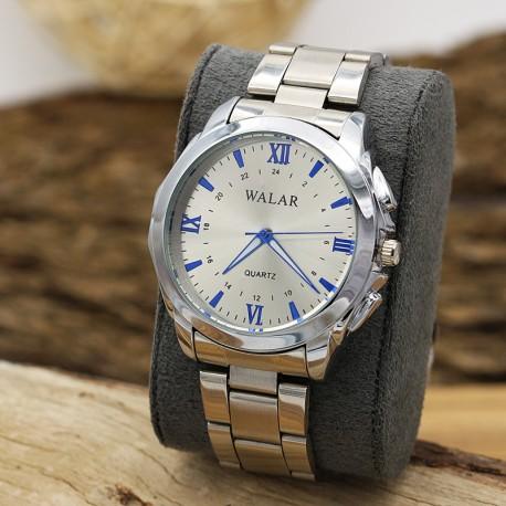 ساعت مچی مردانه با بند استیل و رنگ نقره ای و عقربه آبی مدل F201