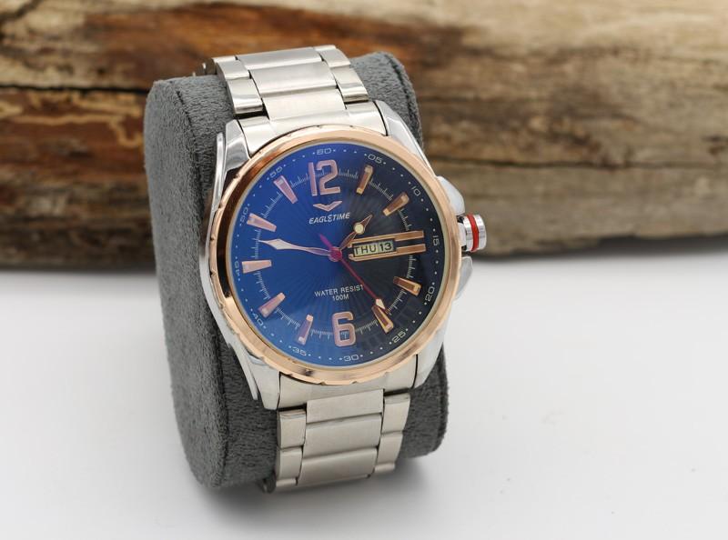 ساعت مچی مردانه استیل با رنگ نقره ای و صفحه مشکی دارای تقویم مدل F203