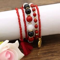 دستبند زنانه چند تکه با سنگ های قرمز و مشکی مدل B271