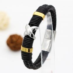 دستبند چرمی مردانه با بند مشکی و دارای مگنت مدل B276