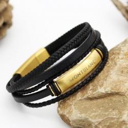 دستبند مردانه چرمی رشته ای برند MontBlanc با بند مشکی و طلایی مدل B280