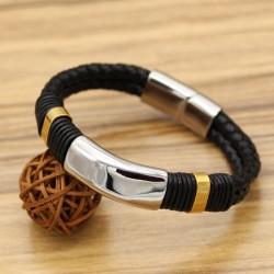 دستبند مردانه چرمی بافت اسپرت با بند مشکی و نقره ای مدل B282