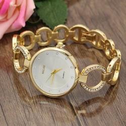 ساعت مچی زنانه صفحه ساده و بند نگین دار استیل با رنگ طلایی و صفحه سفید مدل F207