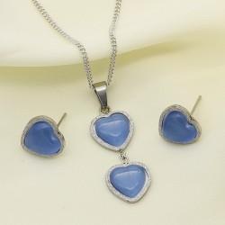 نیم ست دخترانه کریستالی طرح قلب با رنگ نقره ای و آبی مدل T226