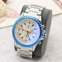 ساعت مچی مردانه استیل با رنگ نقره ای و دارای تقویم مدل F209