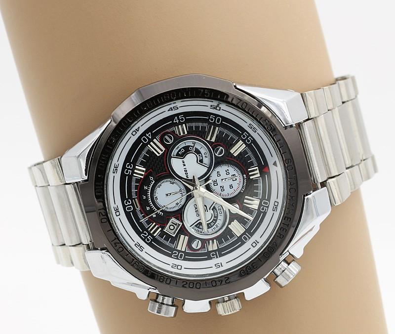 ساعت مچی مردانه استیل رنگ نقره ای و مشکی دارای تقویم وصفحه مشکی و ضدآب برند Casio مدل F210