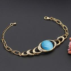 دستبند دخترانه کریستالی نگین دار شیک با رنگ طلایی و آبی مدل B292