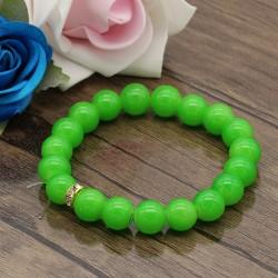 دستبند زنانه کشی با سنگ سبز رنگ مدل B296