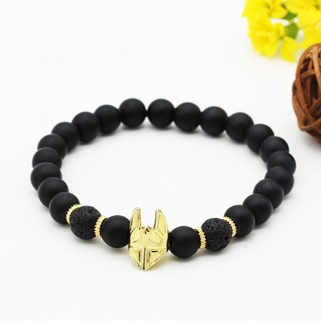 دستبند مردانه کشی با سنگ مشکی مات و طلایی مدل B299