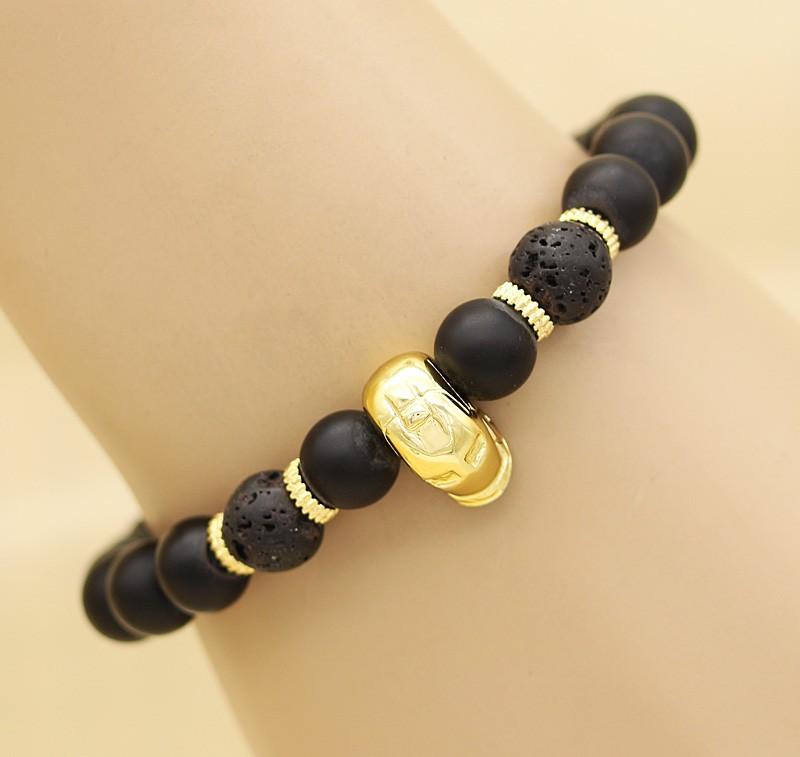 دستبند مردانه کشی طرح مرد آهنی با سنگ مشکی مات و طلایی مدل B300