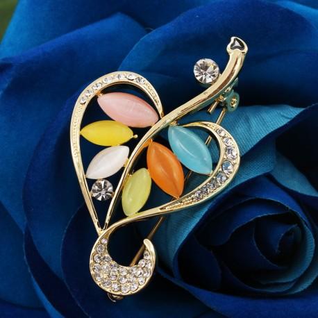 گل سینه زنانه شیک کریستالی طرح قلب نگین دار با سنگهای رنگی مدل S143