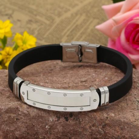 دستبند مردانه اسپرت بدنه استیل با بند لاستیکی و رنگ نقره ای مدل B304