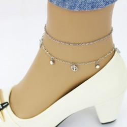 پابند زنانه دوزنجیره شیک جنس استیل رنگ نقره ای مدل P142