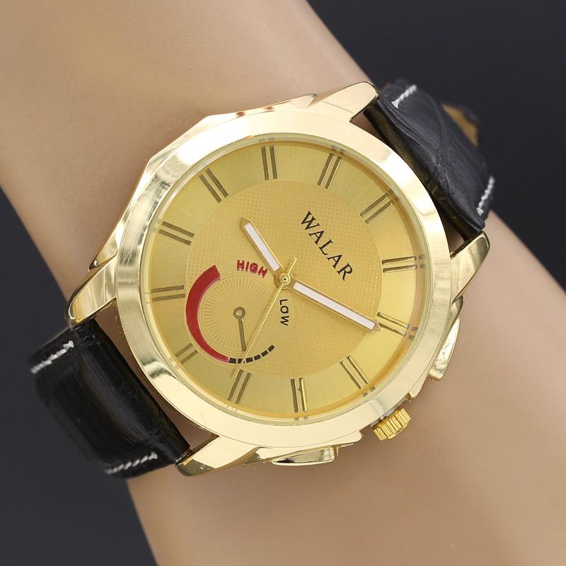 ساعت مچی اسپرت با بند چرمی مشکی و صفحه طلایی مدل F218