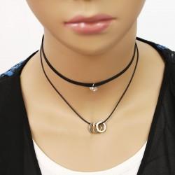 گردنبند چوکر زنانه با آویز حلقه و نگین مدل N414
