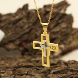 گردنبند صلیب طلایی و نقره ای شیک با جنس استیل مدل N429