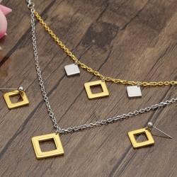 نیم ست زنانه استیل دو رنگ با آویز مربعی و رنگ طلایی و نقره ای مدل T251