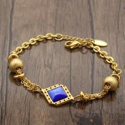 دستبند دخترانه شیک زنجیری با سنگ آبی و جنس استیل مدل B307