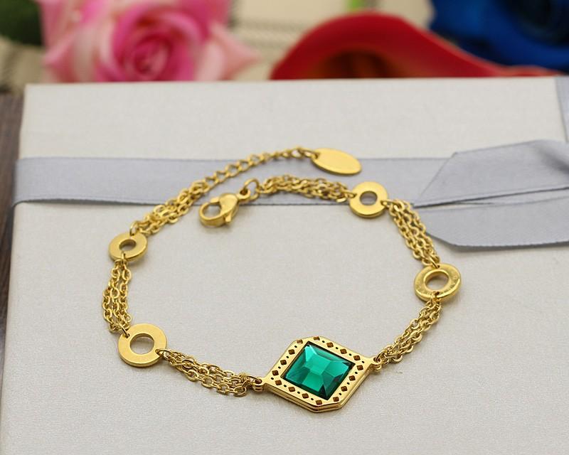 دستبند زنانه شیک زنجیری با سنگ سبز و جنس استیل مدل B308