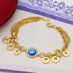 دستبند دخترانه زنجیری با سنگ آبی و جنس استیل مدل B310