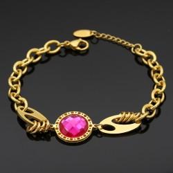 دستبند دخترانه استیل زنجیری با سنگ صورتی مدل B311