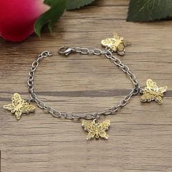دستبند زنانه و دخترانه استیل با آویزهای پروانه طلایی و نقره ای مدل B316