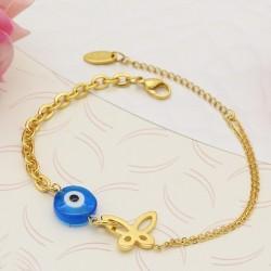 دستبند زنانه و دخترانه چشم نظر و پروانه با زنجیر طلایی رنگ مدل B317