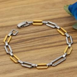دستبند دخترانه زنجیری استیل با رنگ نقره ای و طلایی مدل B320