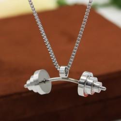 گردنبند هالتر خمیده استیل نقره ای مدل N462