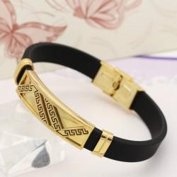 دستبند مردانه با بند لاستیکی و بدنه استیل طلایی مدل B323