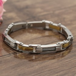 دستبند مردانه استیل با رنگ نقره ای طلایی مدل B324