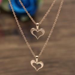 گردنبند دخترانه دو زنجیره طرح قلب با رنگ رزگلد و جنس استیل مدل N474