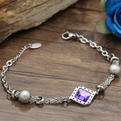 دستبند زنانه استیل زنجیری با سنگ بننفش با رنگ نقره ای مدل B325