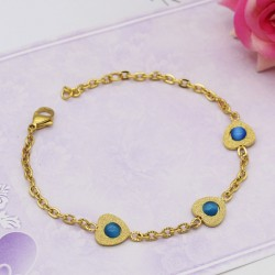 دستبند زنانه استیل با آویز قلب و نگین آبی مدل B329